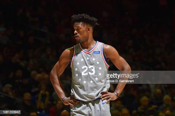Jimmy Butler of the Philadelphia 76ers looks on against the Atlanta Hawks on January 11 2019 at the Wells Fargo Center in Philadelphia Pennsylvania...