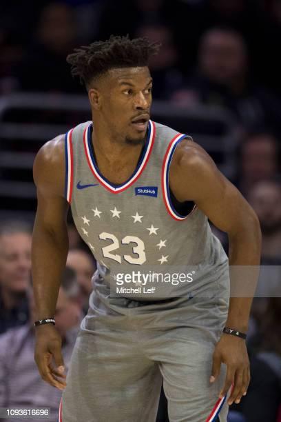 Jimmy Butler of the Philadelphia 76ers looks on against the Atlanta Hawks at the Wells Fargo Center on January 11 2019 in Philadelphia Pennsylvania...