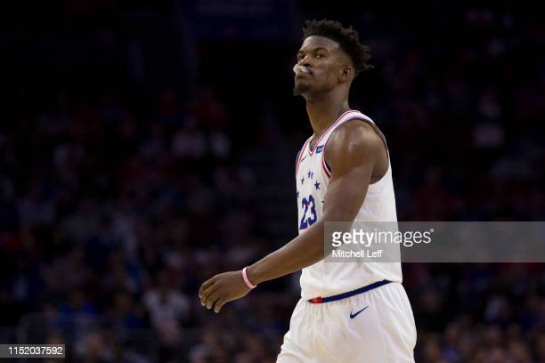 Jimmy Butler of the Philadelphia 76ers looks on against the Toronto Raptors in Game Six of the Eastern Conference Semifinals at the Wells Fargo...