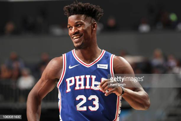 Jimmy Butler of the Philadelphia 76ers looks on during the game against the Charlotte Hornets on November 17 2018 at Spectrum Center in Charlotte...