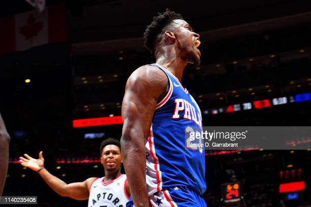 Jimmy Butler of the Philadelphia 76ers reacts during a game against the Toronto Raptors during Game Two of the Eastern Conference Semifinals of the...