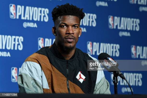 Jimmy Butler of the Philadelphia 76ers speaks with the media after Game Seven of the Eastern Conference SemiFinals of the 2019 NBA Playoffs against...