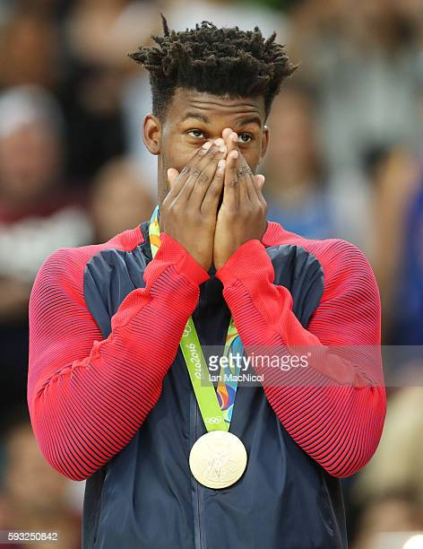 Jimmy Butler of the United States looks on from the podium after the final match of the Men's basketball between Serbia and United States on day 16...