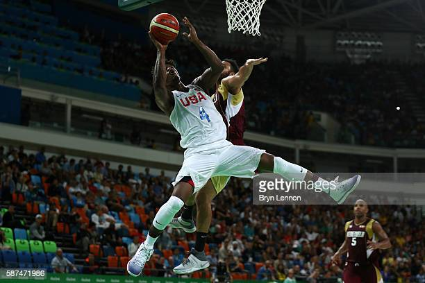 Jimmy Butler of United States shoots the ball against Venezuela in the men's preliminary round group A game 19 on Day 3 of the Rio 2016 Olympic Games...