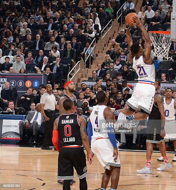 Jimmy Butler playing for the East Coast allstars goes up for the dunk during the 2015 NBA AllStar Game at Madison Square Garden on February 15 2015...
