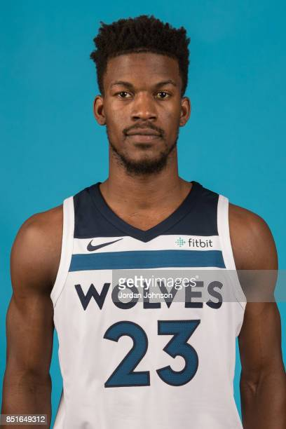 Jimmy Butler poses for a portrait during 2017 Media Day on September 22 2017 at the Minnesota Timberwolves and Lynx Courts at Mayo Clinic Square in...