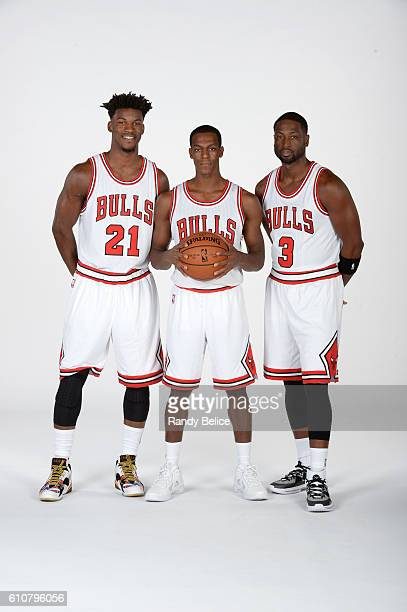 Jimmy Butler Rajon Rondo and Dwyane Wade of the Chicago Bulls poses for a portrait during the 20162017 Chicago Bulls Media Day on September 26 2016...