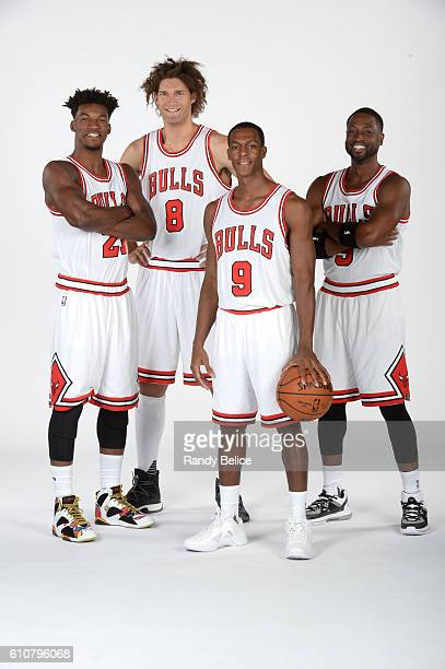 Jimmy Butler Robin Lopez Rajon Rondo and Dwyane Wade of the Chicago Bulls poses for a portrait during the 20162017 Chicago Bulls Media Day on...