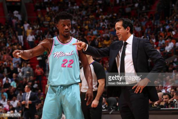 Jimmy Butler shares a conversation with his Head Coach, Erik Spoelstra of the Miami Heat during the game against the Los Angeles Lakers December 13 ,...