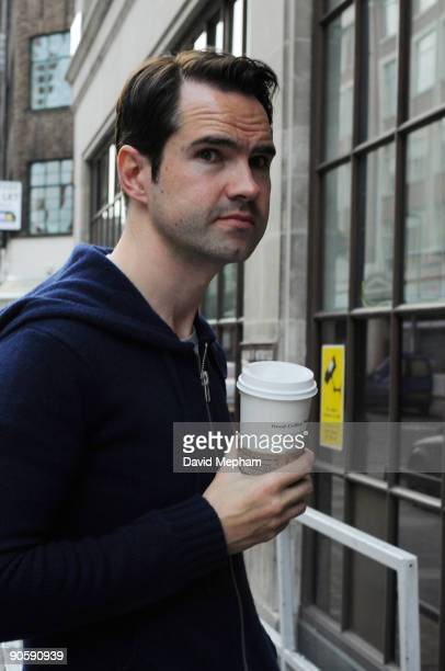 Jimmy Carr and Chris Moyles share a coffee and a cigarette outside Radio One on September 11 2009 in London England