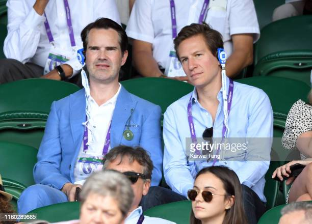 Jimmy Carr and Dave Clark attend day five of the Wimbledon Tennis Championships at All England Lawn Tennis and Croquet Club on July 05 2019 in London...