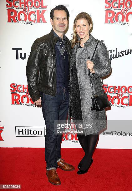 Jimmy Carr and Karoline Copping attend the opening night of 'School Of Rock The Musical' at The New London Theatre, Drury Lane on November 14, 2016...