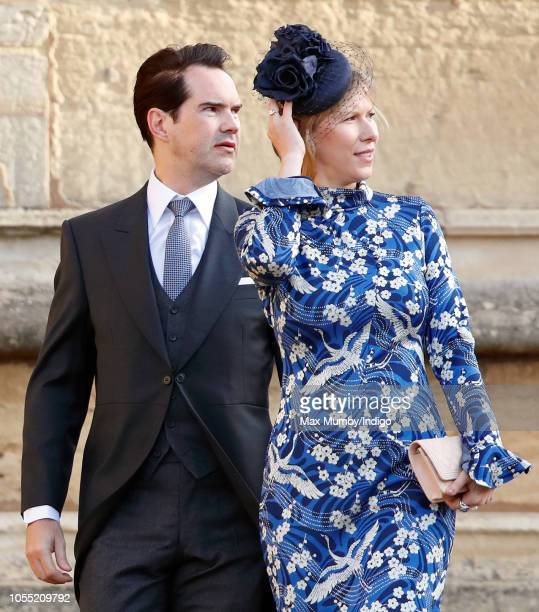 Jimmy Carr and Karoline Copping attend the wedding of Princess Eugenie of York and Jack Brooksbank at St George's Chapel on October 12 2018 in...