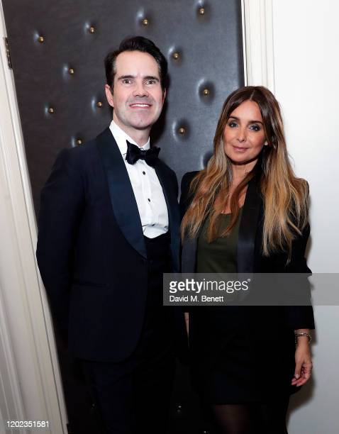 Jimmy Carr and Louise Redknapp attend the fifth annual British Takeaway Awards in association with Just Eat at The Savoy Hotel on January 27 2020 in...