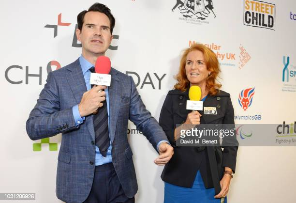 Jimmy Carr and Sarah Ferguson Duchess of York representing Street Child speak onstage at BGC Charity Day at One Churchill Place on September 11 2018...