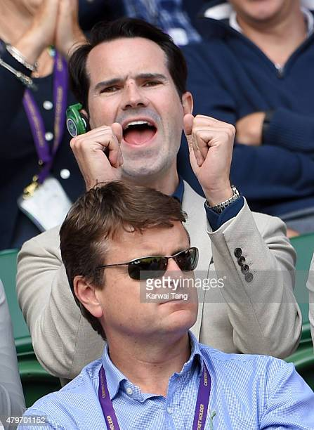 Jimmy Carr attends day seven of the Wimbledon Tennis Championships at Wimbledon on July 6 2015 in London England