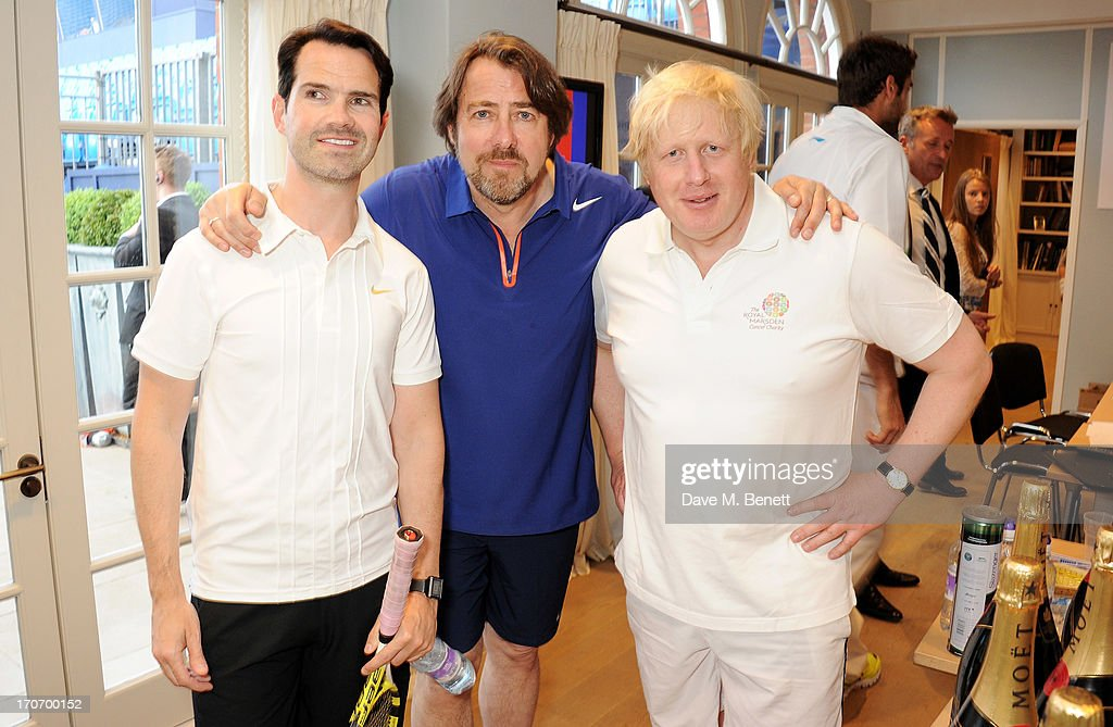 Jimmy Carr, Jonathan Ross and Boris Johnson attend The Moet & Chandon Suite at The Aegon Championships Queens Club finals on June 16, 2013 in London, England.