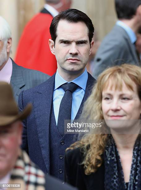 Jimmy Carr leaves a memorial service for the late Sir Terry Wogan at Westminster Abbey on September 27 2016 in London England