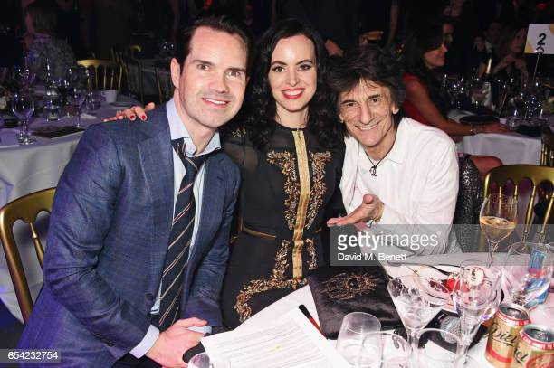 Jimmy Carr Sally Wood and Ronnie Wood attend the Roundhouse Gala at The Roundhouse on March 16 2017 in London England
