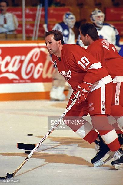 Jimmy Carson of the Detroit Red Wings skates in warmup prior to a game against the Toronto Maple Leafs on October 26 1991 at Maple Leaf Gardens in...
