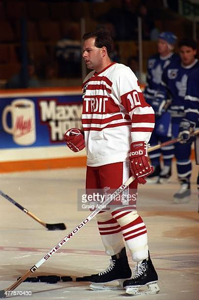 Jimmy Carson of the Detroit Red Wings takes warmup prior to a game against the Toronto Maple Leafs on October 5 1991 at Maple Leaf Gardens in Toronto...