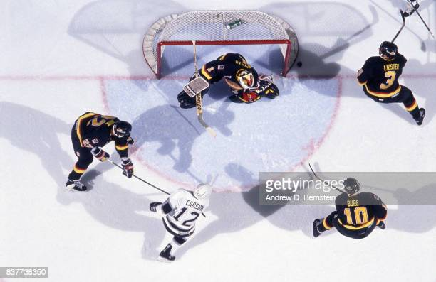 Jimmy Carson of the Los Angeles Kings on May 7 1993 charges the net against the Vancouver Canucks at the Great Western Forum in Inglewood California
