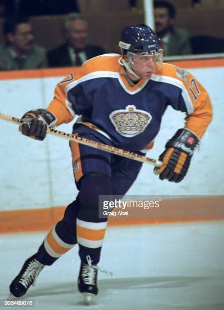 Jimmy Carson of the Los Angeles Kings skates against the Toronto Maple Leafs during NHL game action on February 4 1987 at Maple Leaf Gardens in...