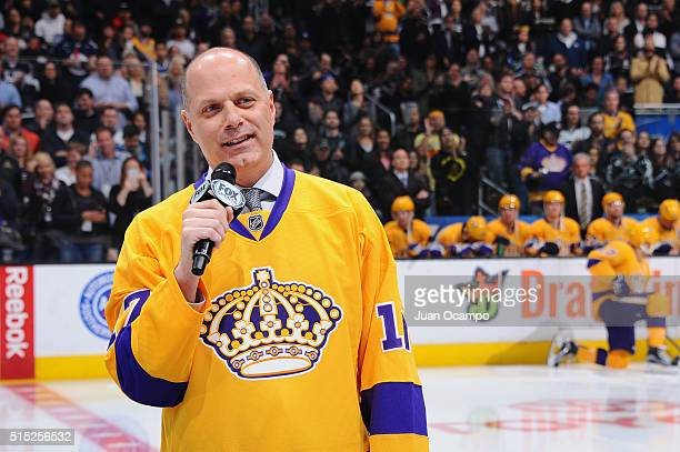 Jimmy Carson speaks after being honored during the LA Kings Legends Night prior to the game against the Vancouver Canucks on March 7 2016 at Staples...