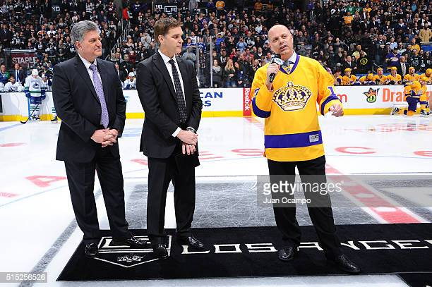 Jimmy Carson speaks during the LA Kings Legends Night after being honored by Nick Nickson and Luc Robitaille prior to the game against the Vancouver...