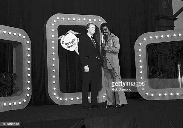 Jimmy Carter and Singers/Songwriters James Brown attend Former Governor of Georgia Jimmy Carter's fundraiser for his 1976 Presidential run at Royal...