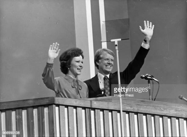Jimmy Carter and wife Rosalynn Carter wave to the delegates at the 1977 Democratic National Convention after Carter was nominated to run for President