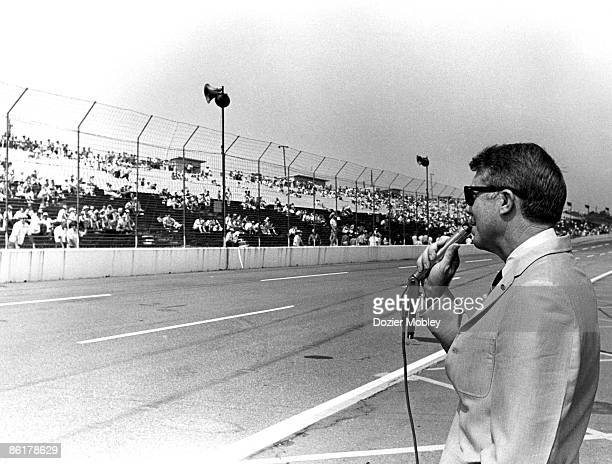 Jimmy Carter appears before the crowd during his campaign for Governor of Georgia on August 2 1970 at the Atlanta International Raceway in Hampton...