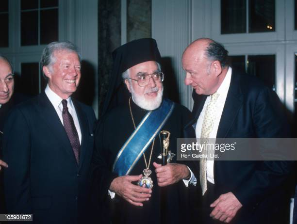 Jimmy Carter Archbishop and Ed Koch during Waldorf Astoria Luncheon with President Jimmy Carter April 1 1984 at Waldorf Astoria Hotel in New York...