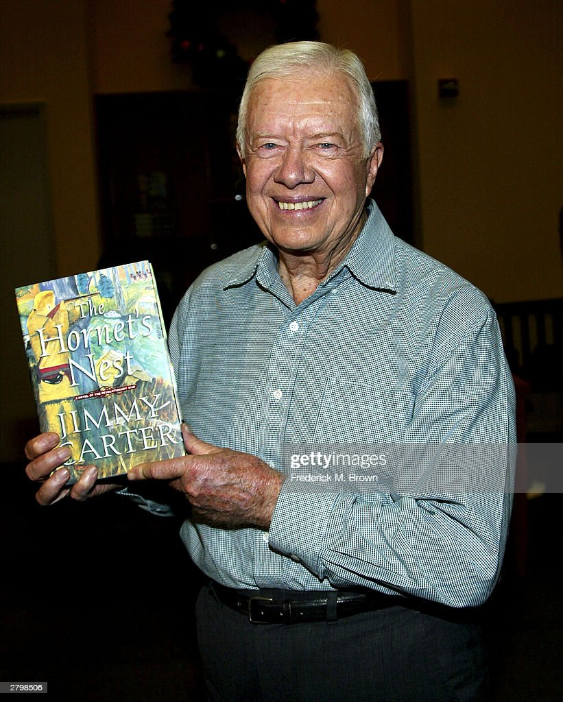 Jimmy Carter, former President of the United States, attends the booksigning for his new book 'The Hornet's Nest' at Vromans Bookstore on December 09, 2003 in Pasadena, California.