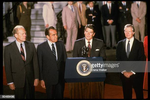 Jimmy Carter Ronald Reagan Richard Nixon Gerald Ford before exPres left for Anwar Sadat's funeral NOTE DO NOT USE W/O CONSENT OF TIME MAG