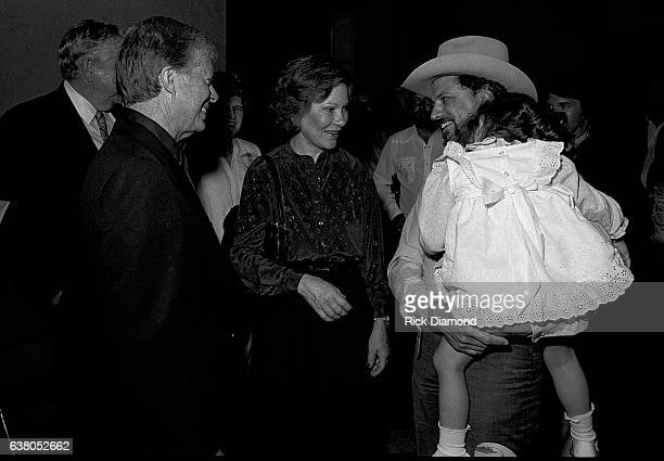 L/R Jimmy Carter Rosalynn Carter and Alex Hodges Nederlander Concerts during Charlie Daniels Band Benefit for Jimmy Carter's Presidential Campaign at...