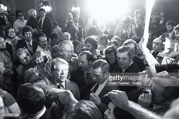 Jimmy Carter Surrounded by Supporters
