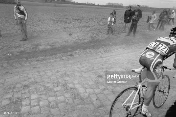 Jimmy Casper of Team SaurSojasun cycling over paving in the ParisRoubaix classic race 2010 11th March 2010