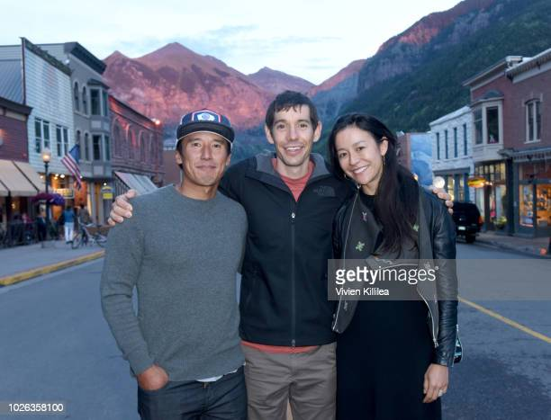 Jimmy Chin Alex Honnold and Elizabeth Chai Vasarhelyi attend the Telluride Film Festival 2018 on September 2 2018 in Telluride Colorado