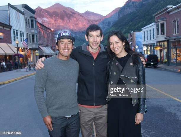 Jimmy Chin Alex Honnold and Elizabeth Chai Vasarhelyi attend the Telluride Film Festival 2018 on September 2 2018 in Telluride Colorado