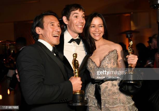 Jimmy Chin Alex Honnold and Elizabeth Chai Vasarhelyi winners of the Documentary award for 'Free Solo' attend the 91st Annual Academy Awards...