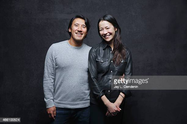 Jimmy Chin and Elizabeth Chai Vasarhelyi from the film 'Meru' pose for a portrait for the Los Angeles Times at the 2015 Sundance Film Festival on...