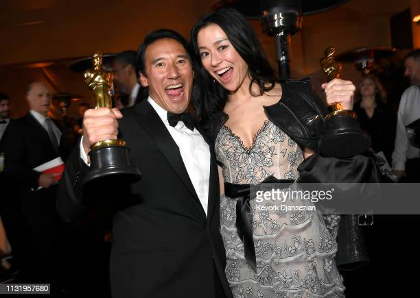 Jimmy Chin and Elizabeth Chai Vasarhelyi winners of the Documentary award for 'Free Solo' attend the 91st Annual Academy Awards Governors Ball at...