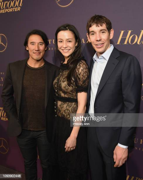 Jimmy Chin Chai Vasarhelyi and Alex Honnold attend The Hollywood Reporter's 7th Annual Nominees Night presented by MercedesBenz Century Plaza...