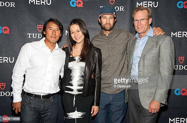 Jimmy Chin Elizabeth Chai Vasarhelyi Renan Ozturk and Conrad Anker attend the Meru New York Premiere at MoMA Titus One on August 3 2015 in New York...