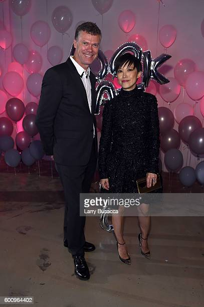 Jimmy Choo CEO Pierre Denis and Jimmy Choo Creative Director Sandra Choi attend the Jimmy Choo 20th Anniversary Event during New York Fashion Week on...