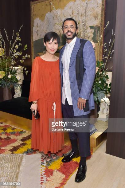 Jimmy Choo Creative Director Sandra Choi and Daveed Diggs attend The Hollywood Reporter and Jimmy Choo Power Stylists Dinner on March 20 2018 in Los...