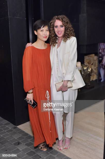 Jimmy Choo Creative Director Sandra Choi and Jen Rade attend The Hollywood Reporter and Jimmy Choo Power Stylists Dinner on March 20 2018 in Los...