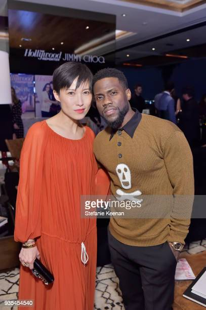 Jimmy Choo Creative Director Sandra Choi and Kevin Hart attend The Hollywood Reporter and Jimmy Choo Power Stylists Dinner on March 20 2018 in Los...
