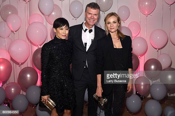 Jimmy Choo Creative Director Sandra Choi Jimmy Choo CEO Pierre Denis and Diane Kruger attend the Jimmy Choo 20th Anniversary Event during New York...